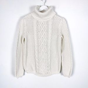 Cable Knit Turtleneck Sweater Off White Me…